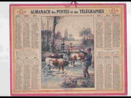 CAL238   ALMANACH DE 1928.. PECCHEUR  FILLETTE PAYSAN VACHES  Herault - Calendars