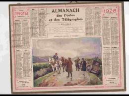 CAL239   ALMANACH DE 1928.. .CHARRETIER  AUTO  PANNE  FEMME  Herault - Calendars