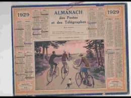 CAL243   ALMANACH DE 1929...PROMENADE  A  VELO   Pli  Sur Verticale Droite - Calendars