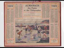 CAL244   ALMANACH DE 1929.. ENFANTS  PECHE CRABES COQUILLAGES  Bretagne Maree Basse FEMME  Herault - Calendars