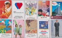 LOT De 10 Télécartes Japon - CROIX ROUGE / Santé Médecine - RED CROSS Japan Phonecards - ROTES KREUZ - 555 - Télécartes