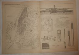 Plan Du Dérasement Des Récifs De Hell, Gate, New York. Etats Unis. 1885. - Travaux Publics
