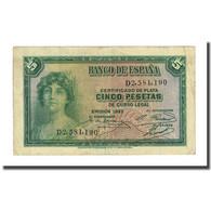 Billet, Espagne, 5 Pesetas, 1935, KM:85a, TB - 5 Pesetas