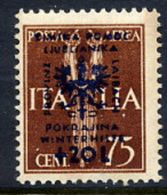 LJUBLJANA PROVINCE 1944 Winter Relief 75 C. + 20 L. MNH / **.  Michel 41 - Occupation 1938-45