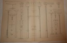 Plan De Colonnes En Fonte. 1885. - Public Works