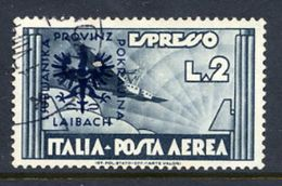 LJUBLJANA PROVINCE 1944 Express Airmail 2 L.  Used.  Michel 28 - Occupation 1938-45
