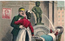 Cpa Fantaisie Gaufrée Souvenir Bruxelles - Andere