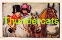CPA ILLUSTRATEUR ENFANT CHEVAL BERTIGLIA ARTIST SIGNED CHILD BOY GIRL HORSE ( PINHOLE - TROU DE PUNAISE ) - Bertiglia, A.