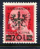 LJUBLJANA PROVINCE 1944 Definitive 20 L. On 20 C. Used.  Michel 17 - Occupation 1938-45
