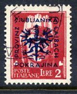 LJUBLJANA PROVINCE 1944 Definitive 2 L. Used.  Michel 13 - Occupation 1938-45