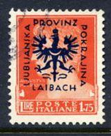 LJUBLJANA PROVINCE 1944 Definitive 1.75 L. Used.  Michel 12 - Occupazione 1938 – 45