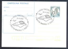 Italy 1983 Card - Minerals Fosil Fossil Mine Mineralien Paleontolyogy Speleology  Shell; Minerals And Fossils Fair - Mineralien