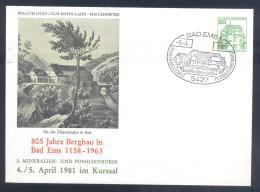 Germany 1981 Postal Stationery Cover: Minerals Fosil Fossil Mine Mineralien Paleontolyogy Speleology: Bergbau Bad Ems - Minerals