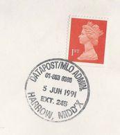 1991 GB Cover 'DATAPOST MLO ADMIN HARROW'  Pmk Stamps - Post