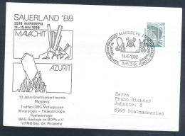 Germany 1988 Cover: Minerals Fosil Fossil Mine Mineralien Paleontolyogy Speleology: Sauerland 88 Marsberg; Azurit - Mineralien