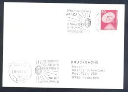 Germany 1983 Card: Minerals Fosil Fossil Mine Mineralien Paleontolyogy Speleology: Mineralien Borse Fulda; Orangerie - Mineralien