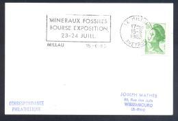 France 1983 Card; Minerals Fosil Fossil Mine Mineralien Paleontolyogy; Minerals And Fossil Exhibiton MILLAU - Mineralien