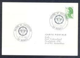 France 1983 Card; Minerals Fosil Fossil Mine Mineralien Paleontolyogy; Minerals And Fossil Exhibiton Nancy - Mineralien