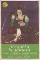 SPAIN ESPAÑA - CINE - FILM - CINEMA - ADVERTISEMENT - ESMERALDA LA ZÍNGARA - CHARLES LAUGHTON - MAUREEN O'HARA - Cinema Advertisement