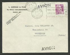 """N° 811 - 10F Lilas / Lettre """" Imprimés - Avion """" >>> SUEDE / PARIS 05.03.1949 - 1945-54 Marianne Of Gandon"""