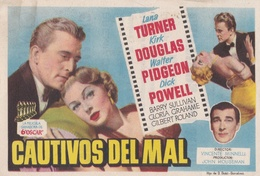 SPAIN ESPAÑA - CINE - FILM - CINEMA - ADVERTISEMENT - CAUTIVOS DEL MAL - LANA TURNER - KIRK DOUGLAS - WALTER PIDGEON - Cinema Advertisement