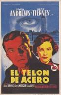 SPAIN ESPAÑA - CINE - FILM - CINEMA - ADVERTISEMENT - EL TELON DE ACERO - DANA ANDREWS - GENE TIERNEY - Cinema Advertisement