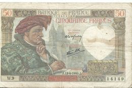 50 Francs  J 13 6 1940 J  W 9 14149  022414149 - 1871-1952 Anciens Francs Circulés Au XXème