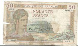 50 Francs  Bo 14 9 1939  U.10862 486  2715544486 - 1871-1952 Antichi Franchi Circolanti Nel XX Secolo
