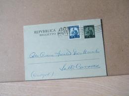MONDOSORPRESA,(IP127) BIGLIETTO POSTALE, DEMOCRATICA 10 LIRE, + 5L. AZZURRO - 6. 1946-.. Repubblica