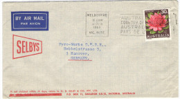 AUSTRALIA - 1969 - Airmail - Waratah, Flower + Flamme Australia, Country Of The Future - Viaggiata Da Melbourne Per H... - 1966-79 Elizabeth II