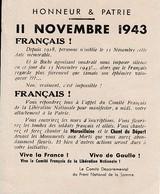 11 NOVEMBRE 1943 - Tract Gaulliste Du Comité Départ. Du FRONT NATIONAL De La SOMME - Historical Documents