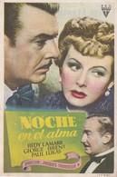 SPAIN ESPAÑA - CINE - FILM - CINEMA - ADVERTISEMENT - NOCHE EN EL ALMA - HEDY LAMARR - GEORGE BRENT - PAUL LUKAS - Cinema Advertisement