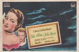 SPAIN ESPAÑA - CINE - FILM - CINEMA - ADVERTISEMENT - VIDA INTIMA DE JULIA MORRIS - OLIVIA DEHAVILLAND - Cinema Advertisement