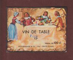 Étiquette De VIN - VIN DE TABLE ROSE -  Ets. Petitdemange & Fils à FRAIZE. 88 - Etiquettes