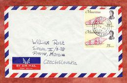Luftpost, MeF Kegelschnecke, Port Louis Nach Prerov 1972 (55488) - Mauritius (1968-...)