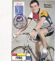 CPSM Sport Cyclisme Cycliste Bernard HINAULT Blaireau Timbre à Date Spécial Cycling Radsport - Cyclisme
