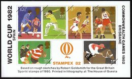 Stampex 1982, Philatelic Exhibition / Football World Cup Spain, Cricket, Athletics, Boxing, Rugby / Vignette, Cinderella - Expositions Philatéliques