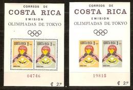 Costa Rica 1965 Yvertn° Bloc 7 Dentélé Et ND  *** MNH Cote 12,00 Euro Jeux Olympiques Tokyo Olympische Spelen - Costa Rica