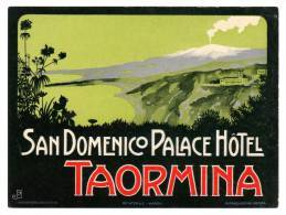 "Grande Etiquette Label Hotel ""San Domenico Palace"" Taormina, Italie - Etiquettes D'hotels"