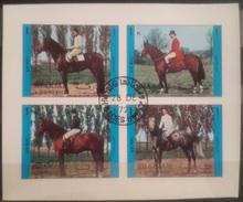 V25 - Sharjah 1972 Mi. 1296B/1299B Sheetlet Of Complete Set 4v. IMPERFORATED - Riding Horses Equestrian IMPERF - Sharjah
