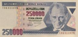 Turkey 250.000 Lirasi, P-211 (1998) - UNC - Türkei