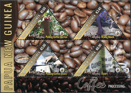 Papua New Guinea. 2018. Coffee Industry In Papua New Guinea (smell Of Coffee) (MNH OG **) Miniature Sheet - Papouasie-Nouvelle-Guinée