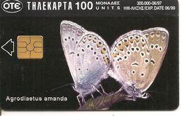 -CARTE-PUCE-GRECE-06/99---PAPILLON BLEU D AMANDA-BE - Farfalle