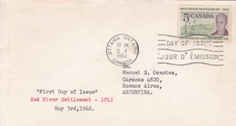 REDRIVER SETTLEMENT 1812. FDC CANADA CIRCULEE OTTAWA TO BUENOS AIRES CIRCA 1962.- BLEUP - First Day Covers