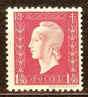 SUPERBE MARIANNE De DULAC N°691 1F50 Groseille NEUF Avec GOMME** - 1944-45 Marianna Di Dulac