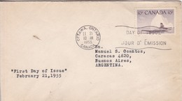 FIRST DAY OF ISSUE. FDC CANADA CIRCULEE OTTAWA TO BUENOS AIRES CIRCA 1955.- BLEUP - 1952-1960
