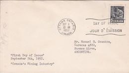 CANADA'S MINING INDUSTRY. FDC CANADA CIRCULEE OTTAWA TO BUENOS AIRES CIRCA 1957.- BLEUP - 1952-1960