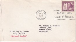 NATIONAL HEALTH. FDC CANADA CIRCULEE OTTAWA TO BUENOS AIRES CIRCA 1958.- BLEUP - 1952-1960