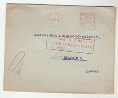 1934 GB COVER METER Stamps 2 1/2d  M17 Post Paid Great Britain, Japhet Co LONDON To DEUTSCHE BANK  BERLIN Germany Gv - 1902-1951 (Kings)