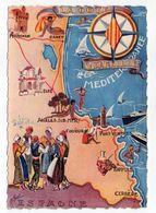 Côte Vermeille -- 1957--Carte Géographique De La Côte Vermeille --illustration--timbre --Cachet - France